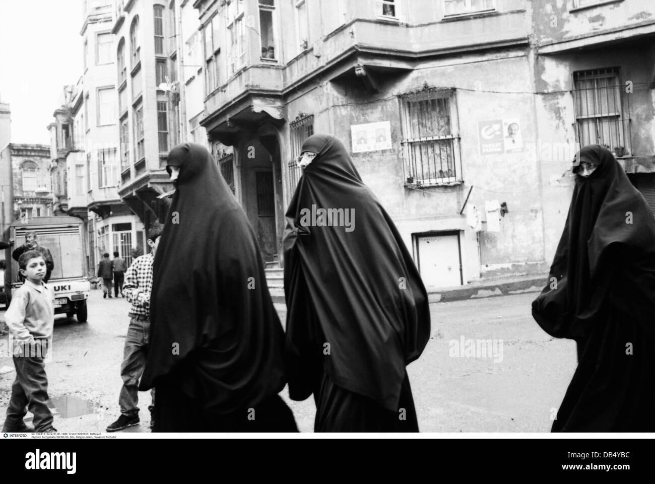 Religion, Religionen, Islam, Frauen im Tschador, 1970er, Additional-Rights - Clearences-NA Stockbild