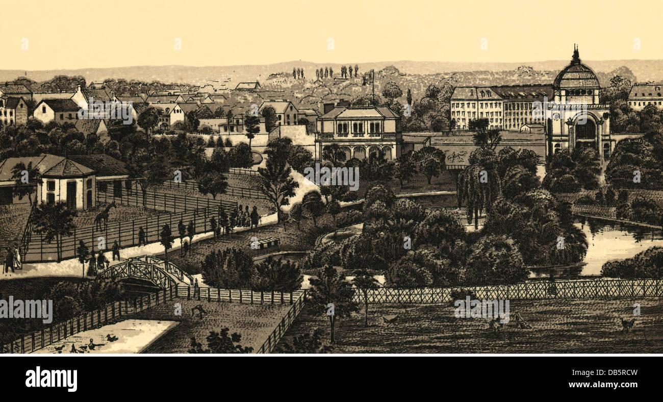 Geographie/Reisen, Deutschland, Hamburg, Den Zoologischen Garten,  Lithografie, Circa 1890,  Additional Rights Clearences NA