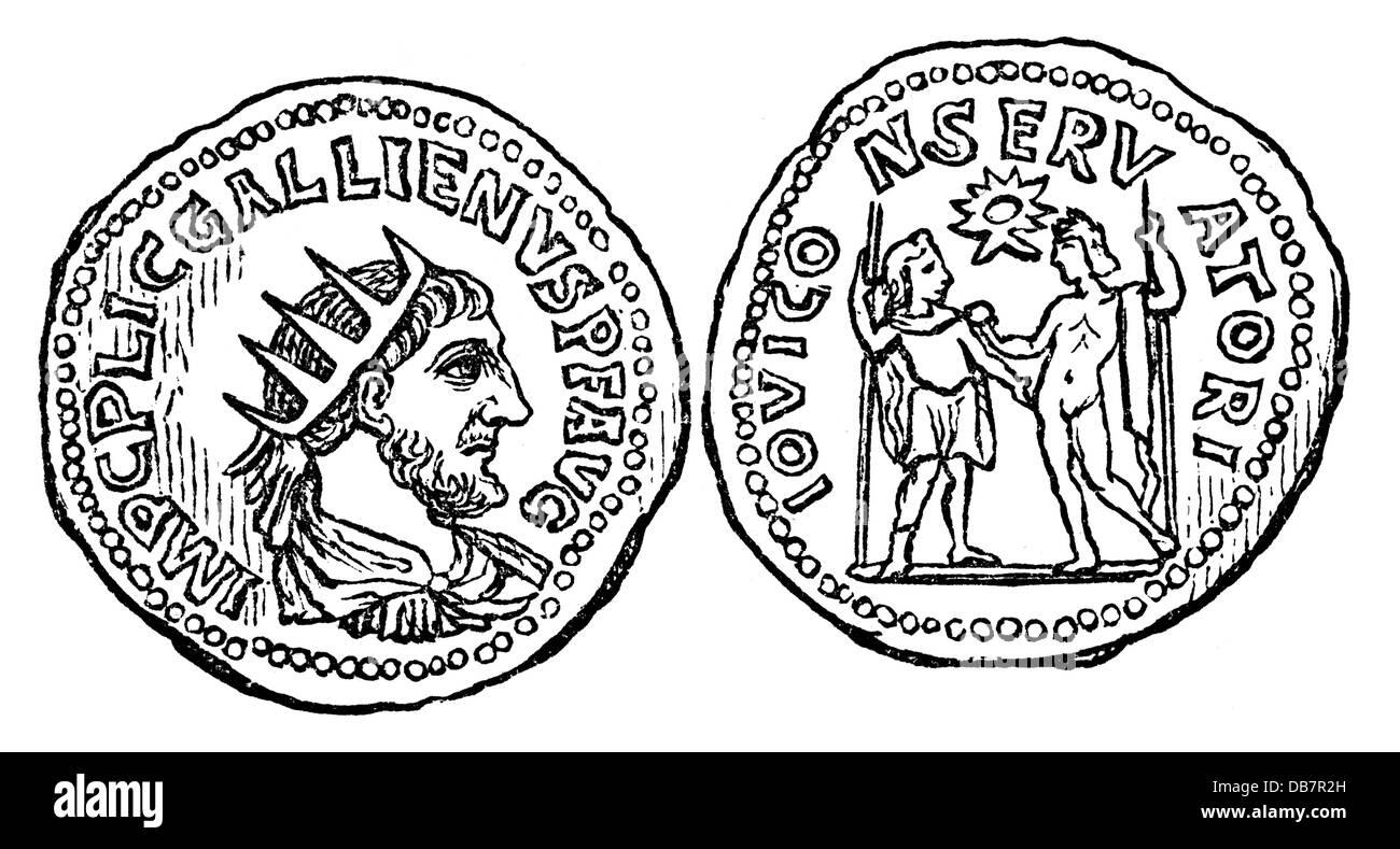 Geld/Finanzen, Münzen, Römische Reich, Denar, von Kaiser Gallienus, Silber, 3.Jahrhundert AD, Holzstich, Stockbild