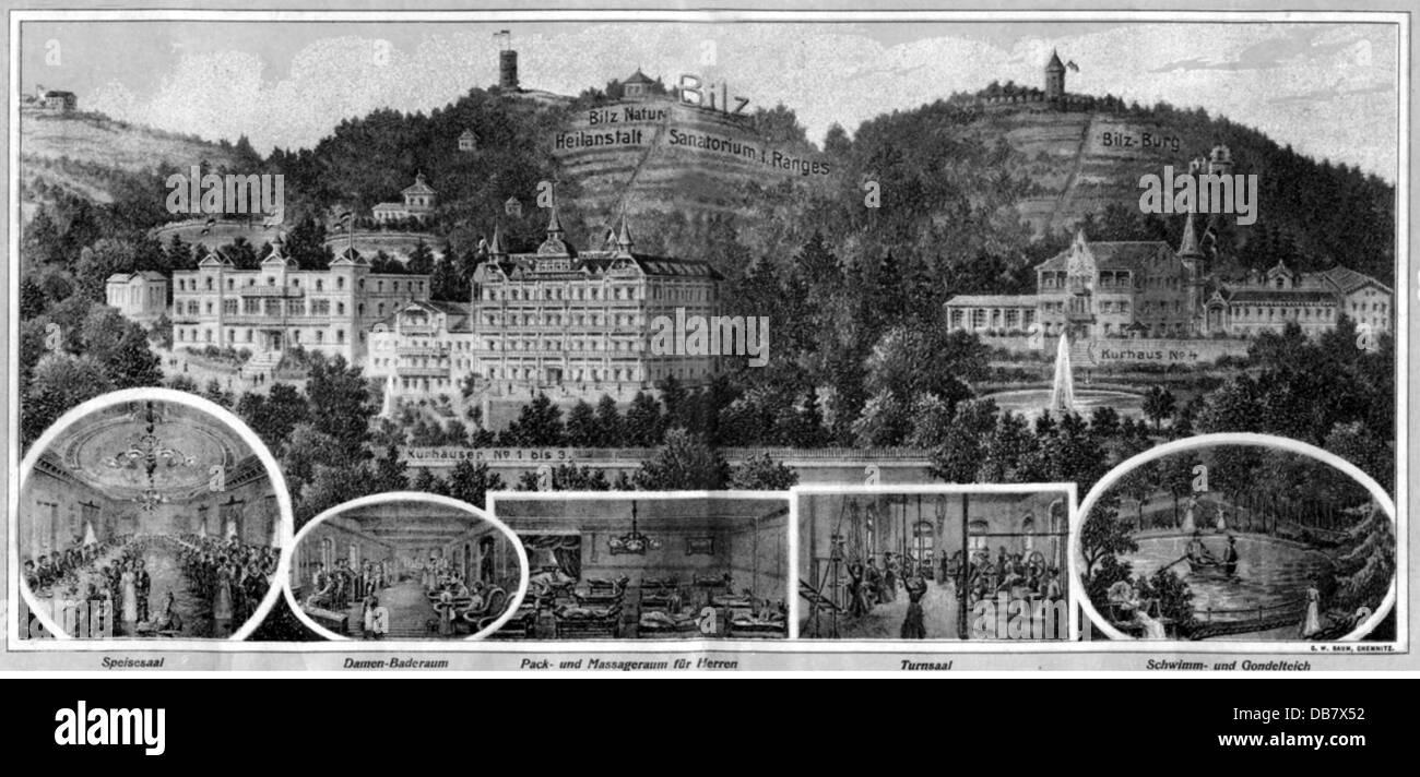 Medizin, Krankenhäuser, Krankenhaus, dresden-radebeul Bilz Naturheilkundliche, Holzstich, C. W. Baum, Chemnitz, Stockbild