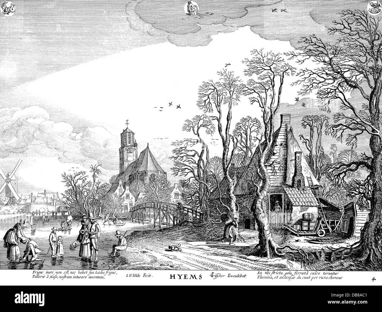"""Bildende Kunst, Van Der Velde, Jan (1593-1641), Grafik, """"hyems"""" (der Winter), 1617, Radierung, 27 x 55 Stockbild"""