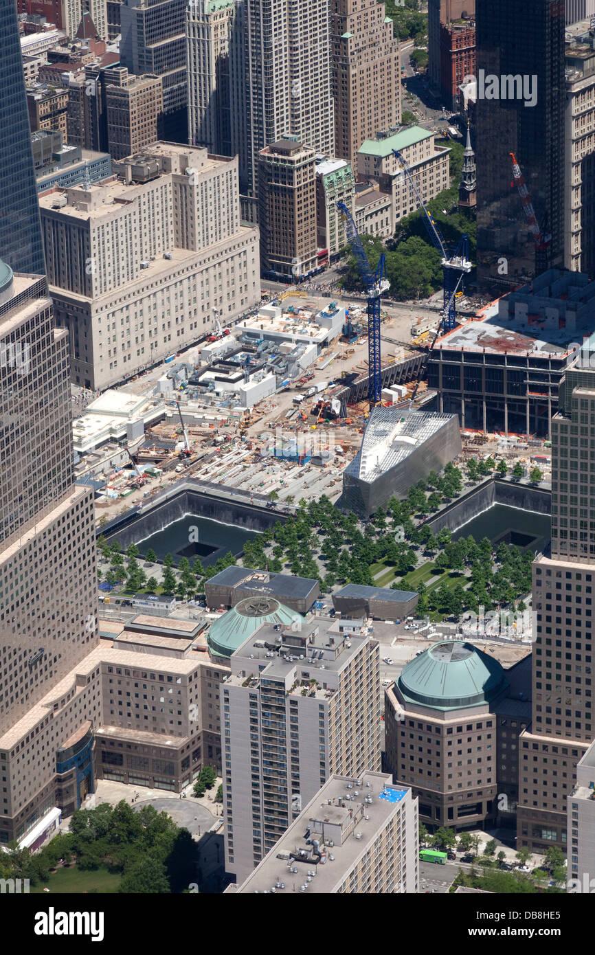 World Trade Center und Ground Zero Luftbild auf der Insel Manhattan in New York City Stockbild