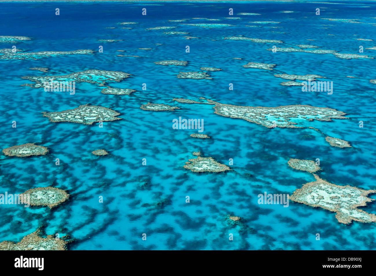 Luftaufnahme von Korallen-Formationen im Hardys Reef. Great Barrier Reef Marine Park, Whitsundays, Queensland, Australien Stockbild