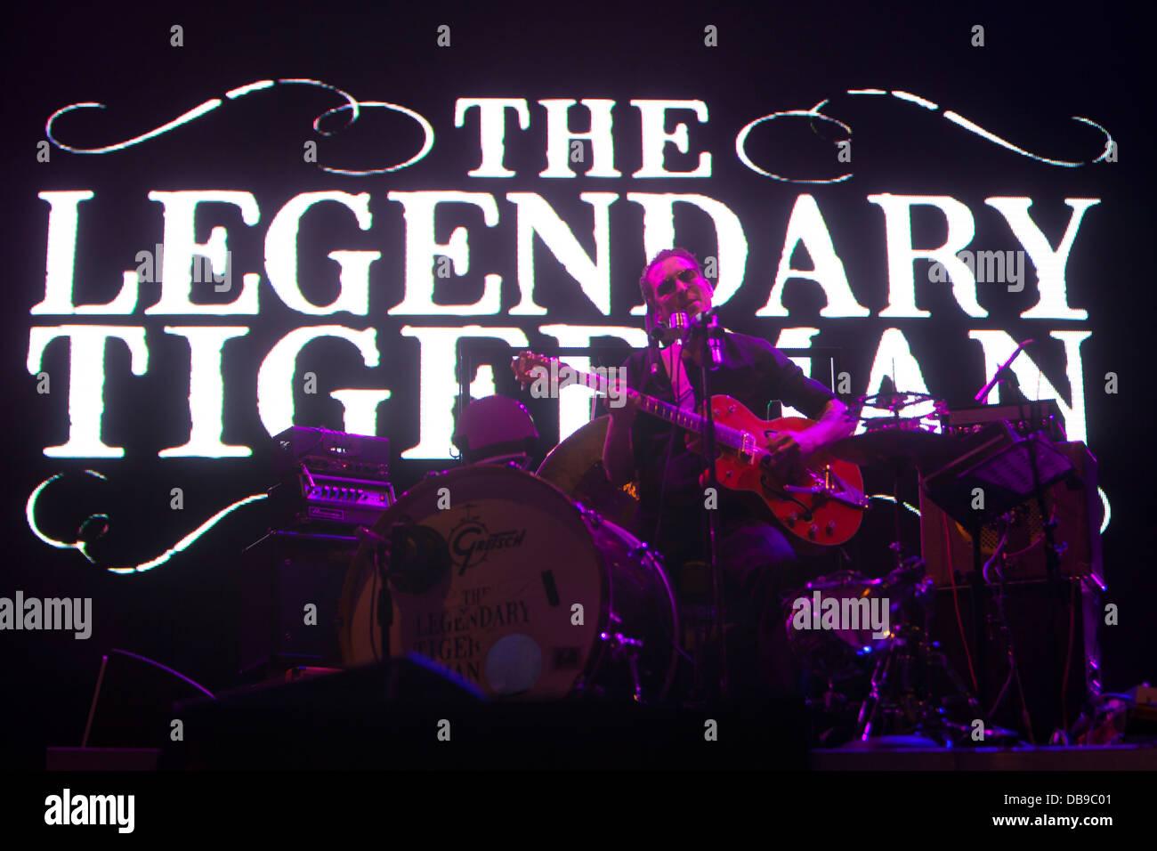 Die legendäre Tigerman beim Optimus Alive Festival 2013, Lissabon, Portugal. Stockbild