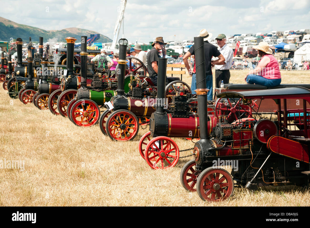Line-up der Miniatur-Lokomobile am Welland Steam Rally, in der Nähe von den Malvern Hills, Worcestershire, Stockbild