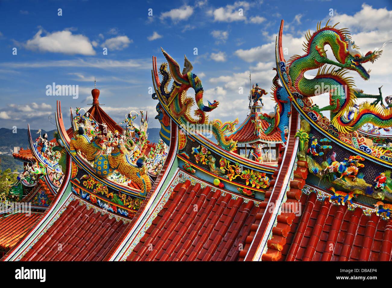 Kunstvolle chinesische Tempel in Bishan-Tempel in Taipei, Taiwan. Stockbild
