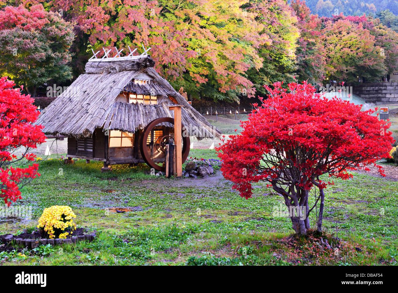Hütten und Herbstlaub in Kawaguchi, Japan. Stockbild