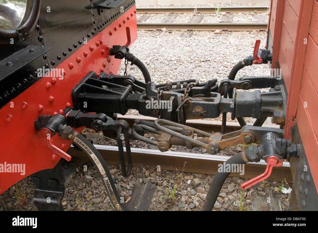 Koppler Kupplung Puffer Züge Verbindung verbunden Wagen Trainer zu trainieren Stockbild