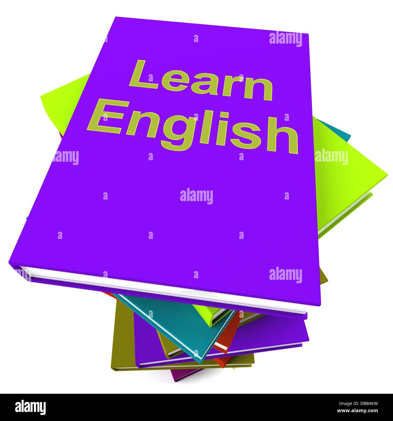 lernen sie englisches buch für das studium einer sprache stockfoto