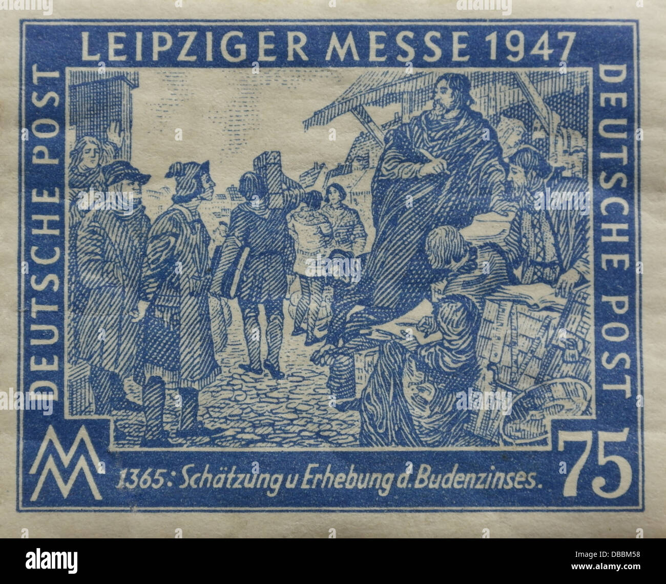 Blau 75 Pfennig Briefmarke Datiert 1947 Zeigen Beamte Sammeln Stall