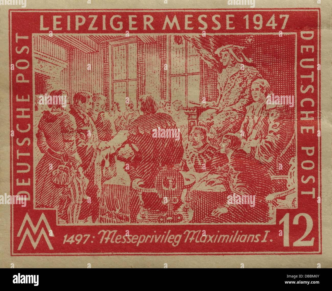 Rot 12 Pfennig Briefmarke Datiert 1947 Zeigt Kaiser Maximilian