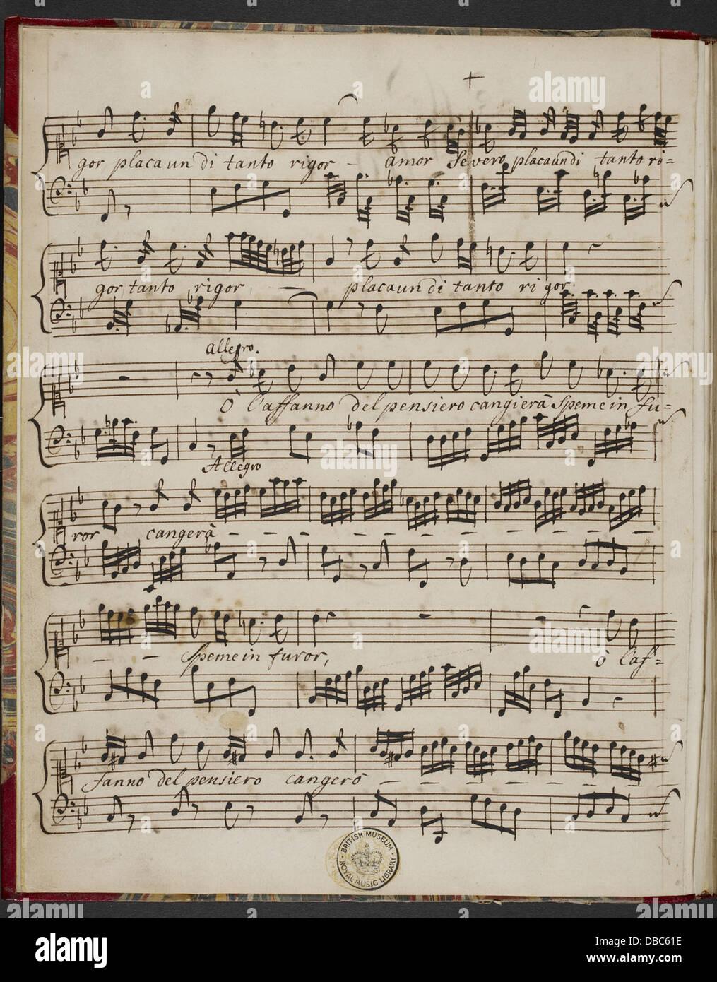 Händel - Il Pastor Fido. (BL R.M.19.e.4 F. 1v) Stockbild