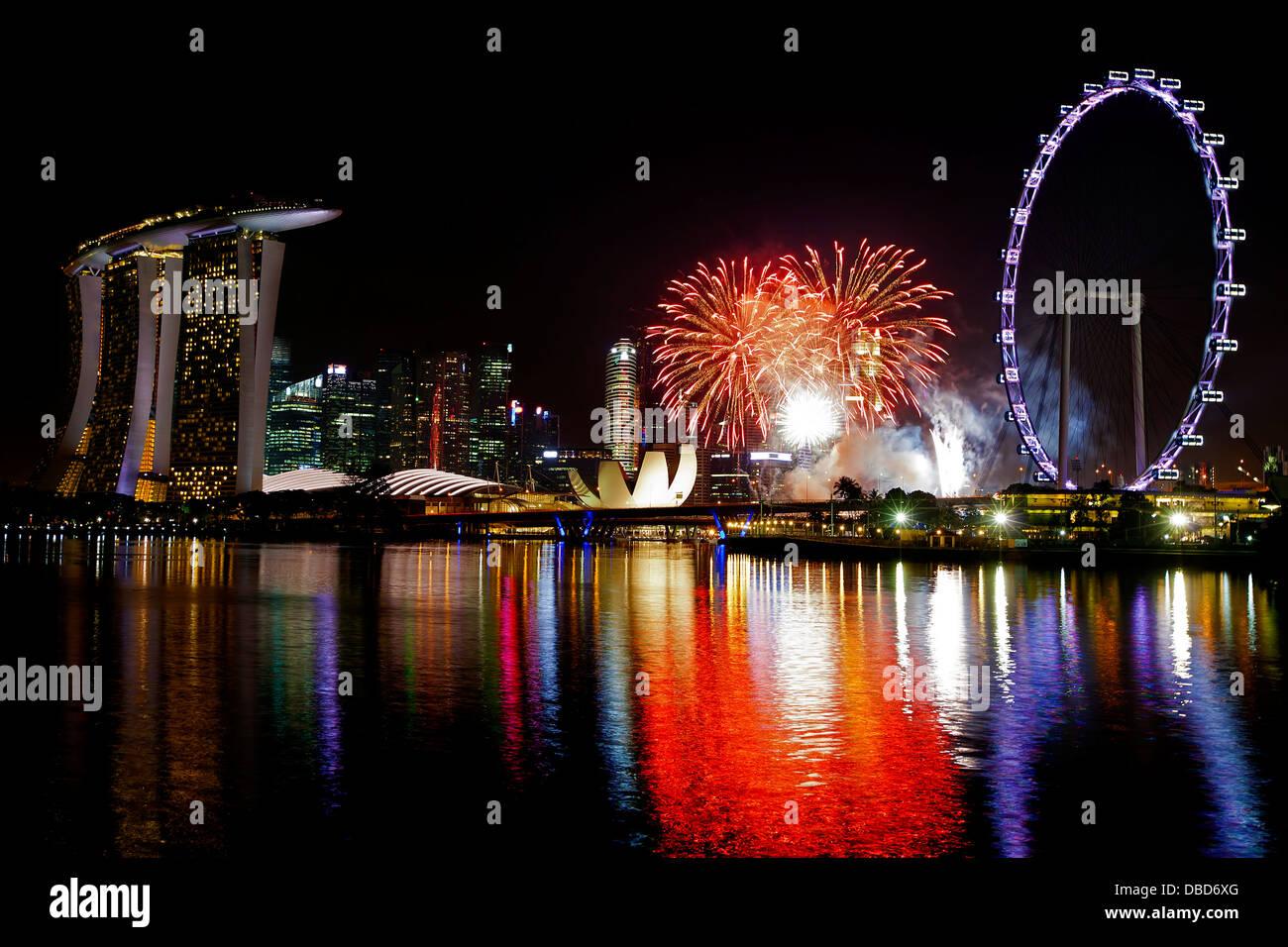 Singapur Feuerwerk Stockbild