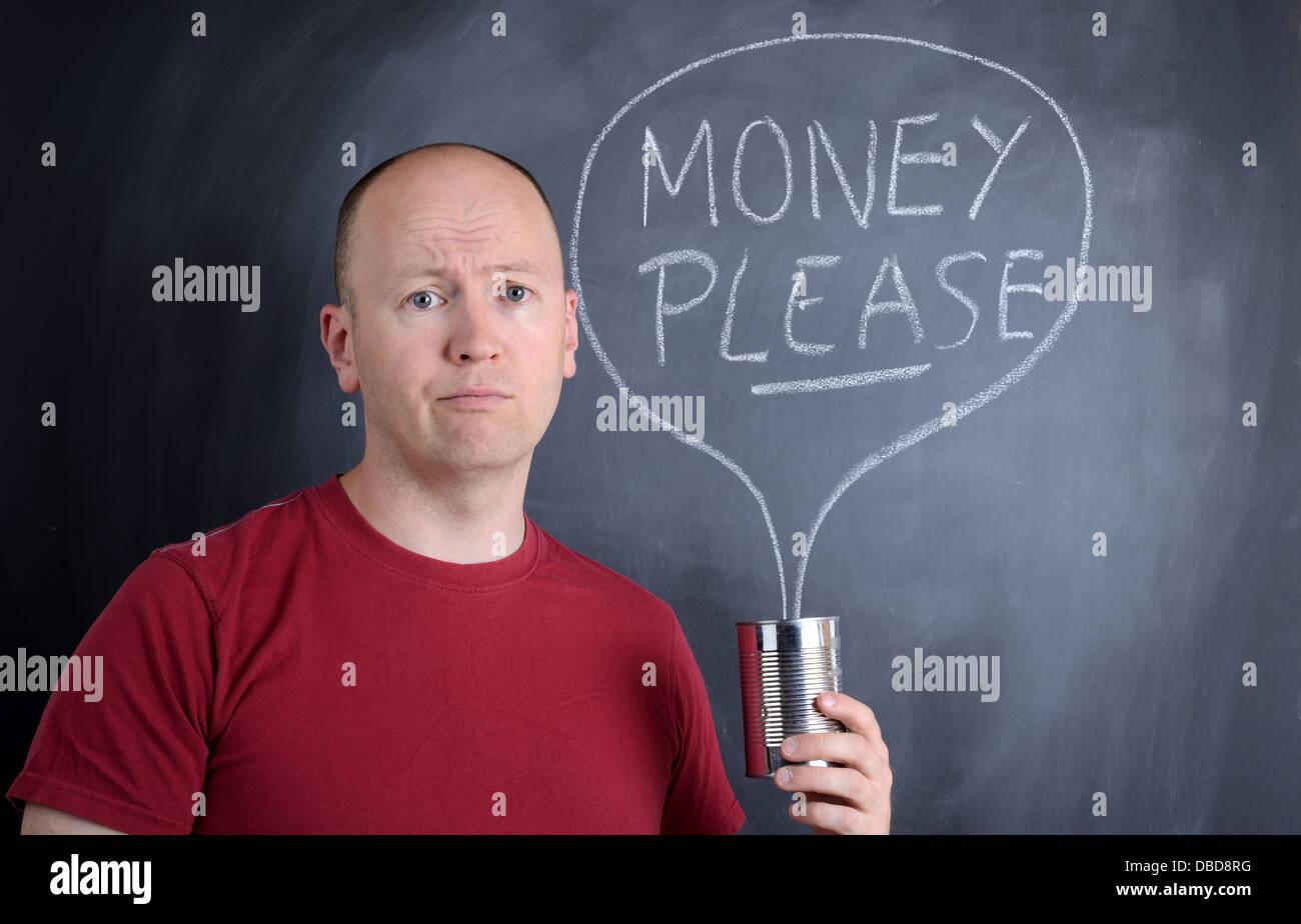Bitte geben Sie Geld für wohltätige Zwecke Stockbild