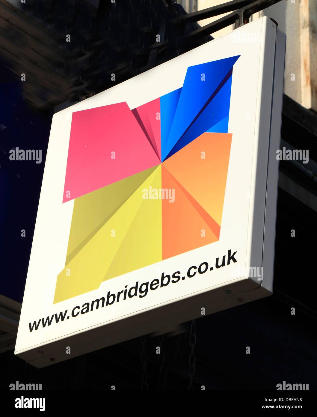 Cambridge-Bausparkasse, Schilder, Logo Zeichen England UK Mitgliedschaft Stockbild