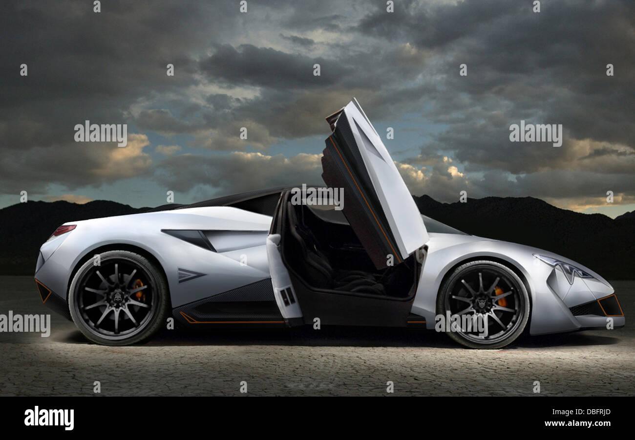 Triango Revolution ist die Zukunft hier mit der brandneuen Triango-Revolution. Der kühne und radikale Sportwagen, Stockbild