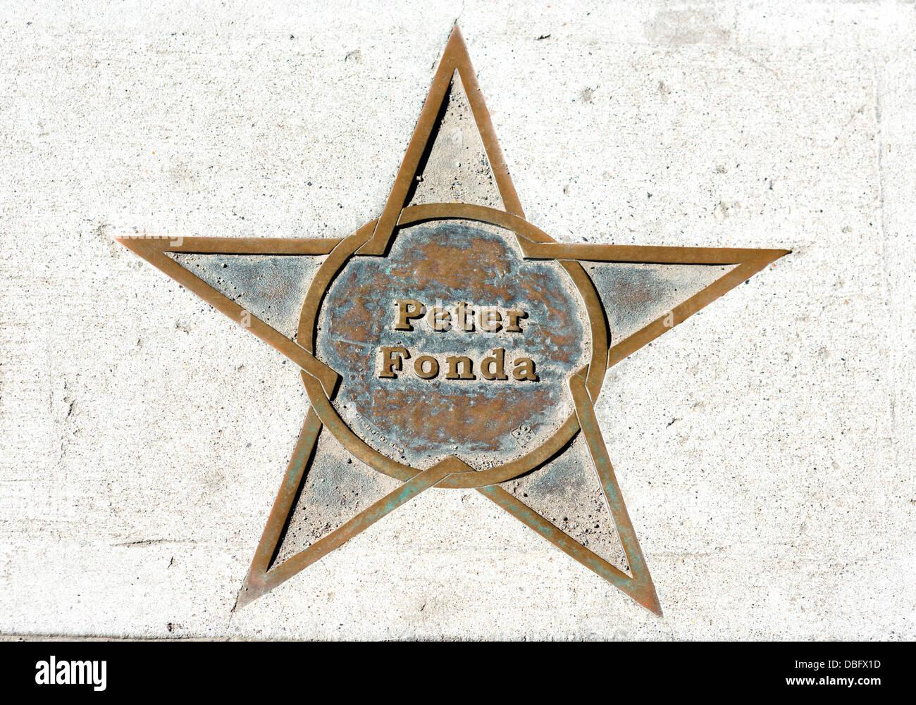 Peter Fonda Stern auf dem Bürgersteig, Main Street, Bozeman, Montana, USA Stockbild