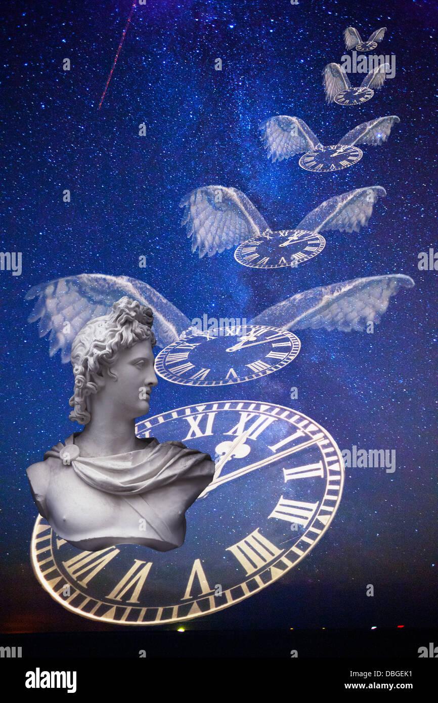 Im Laufe der Zeit fliegen fliegt Geschichte Konzept Uhren Uhr Gesicht Flügeln fliegen Sterne Milchstraße Stockbild
