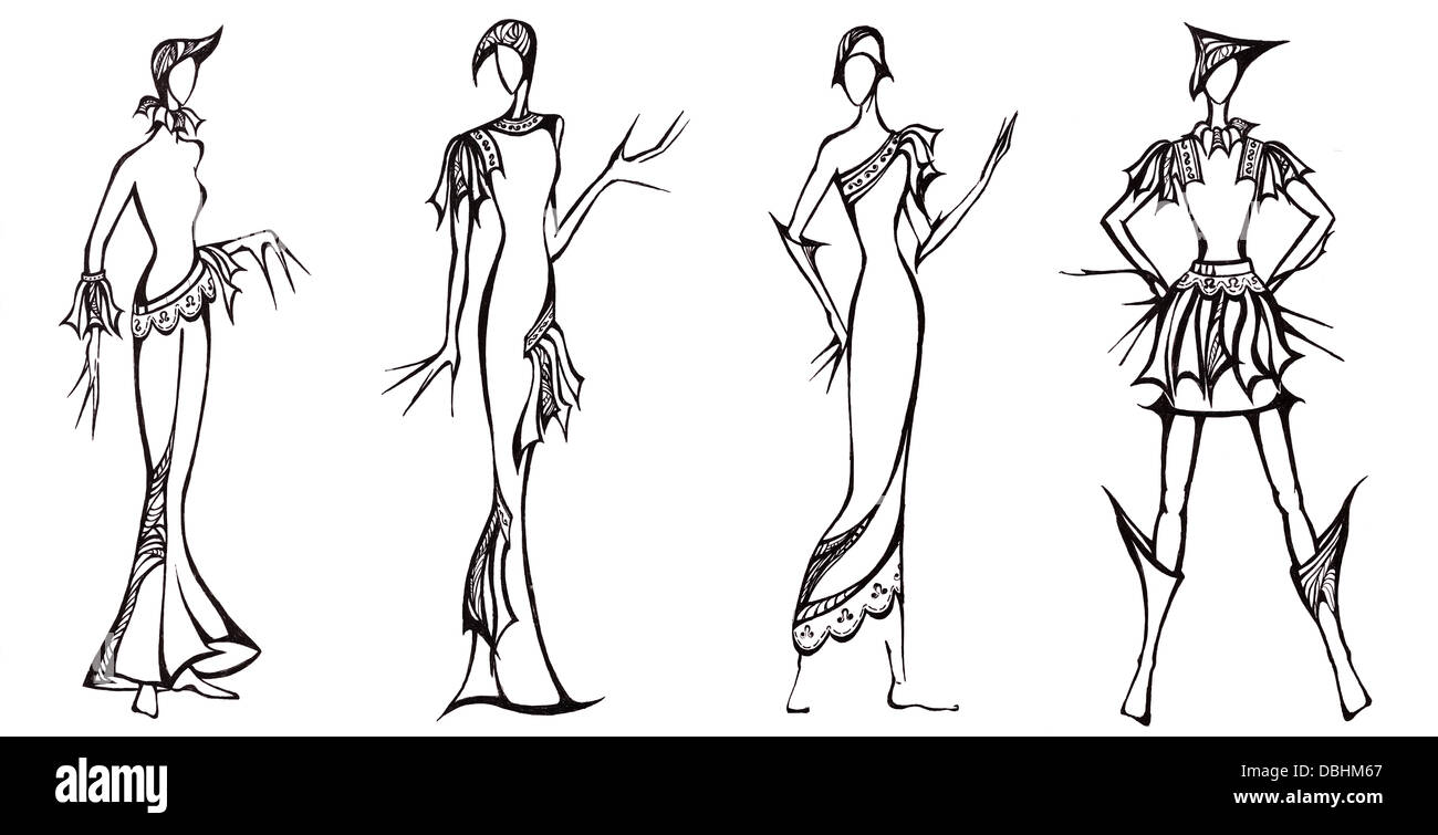 Skizze des Mode-Modell - Design der Kleider basierend auf der ...