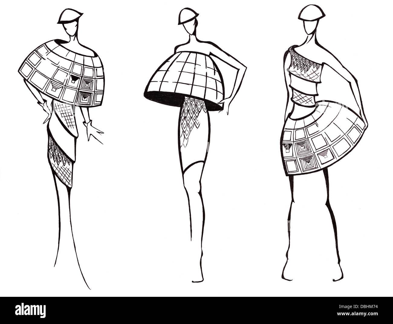 Skizze des Mode-Modell - Design der Kleider basierend auf ...