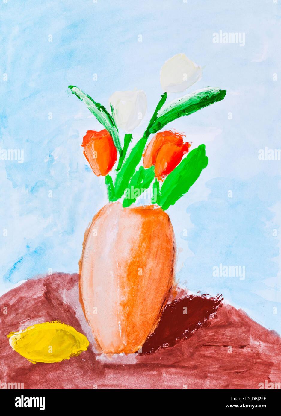 Kinder Malen Blumen Vase Mit Roten Tulpen Stockfoto Bild