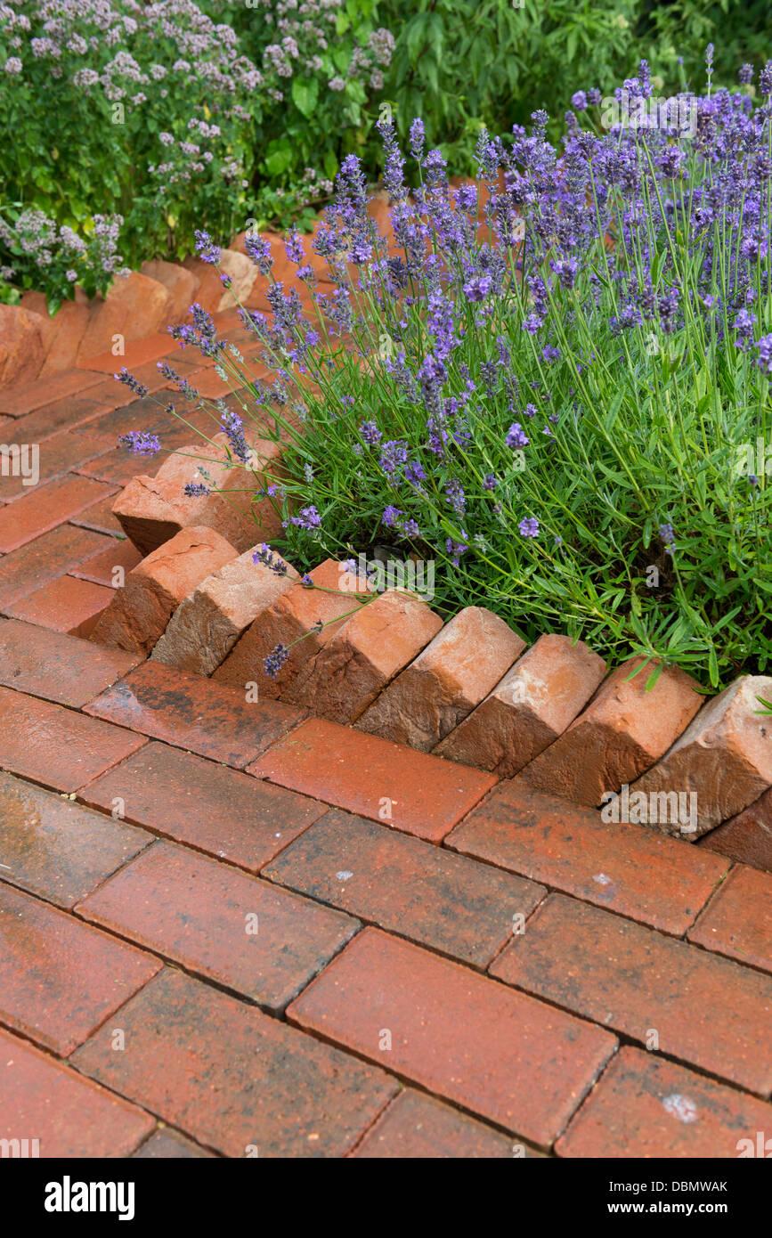 Berühmt Gartenweg aus Betonstein mit einer Säge Zahn Housebrick Einfassung @PW_04
