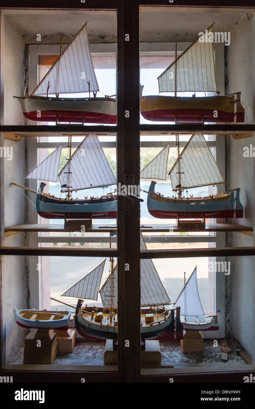 Modell Segelboote, Insel Hvar, Stari Grad, Dalmatien, Kroatien Stockbild