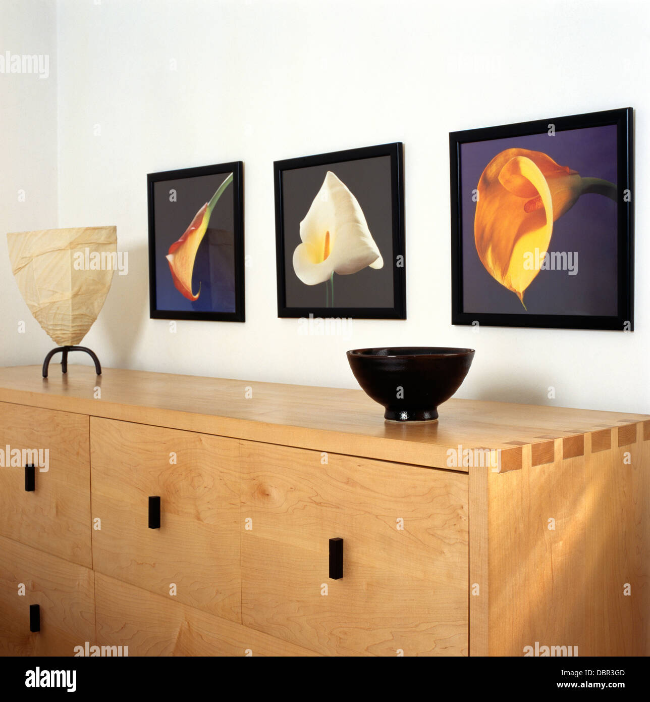 Gerahmte Bilder von Lilien über blasse Holz moderne Sideboard im ...