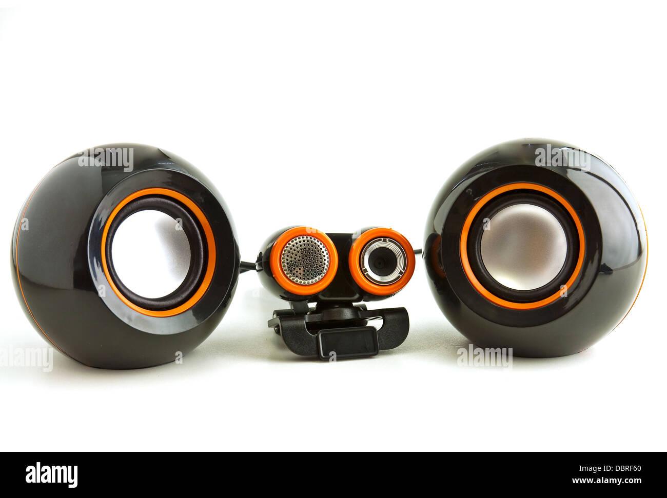 Webcam und Lautsprecher in schwarz und orange Farben Stockfoto, Bild ...
