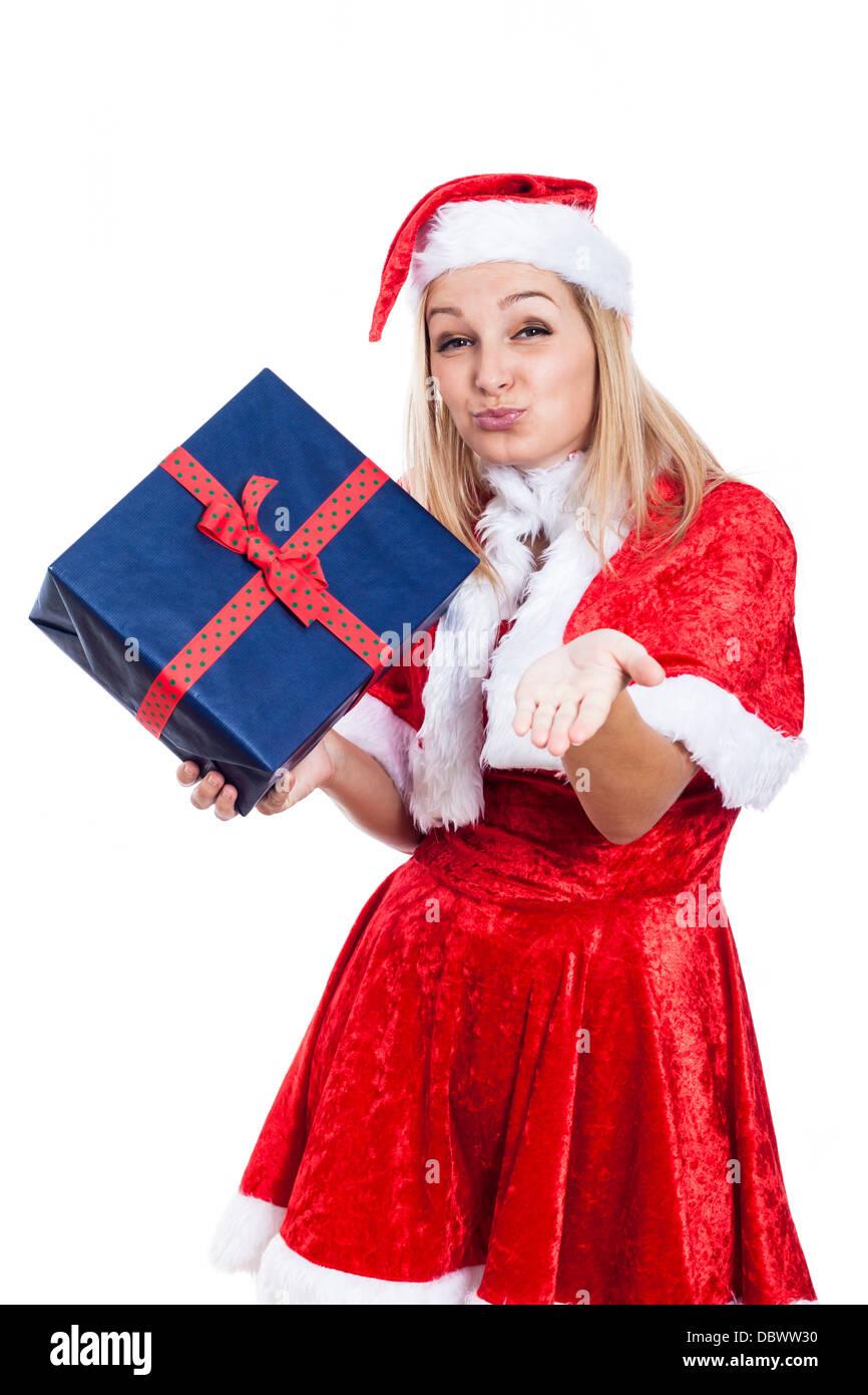 Dankbar Weihnachten Frau mit vorliegenden senden Kuss, isoliert auf ...