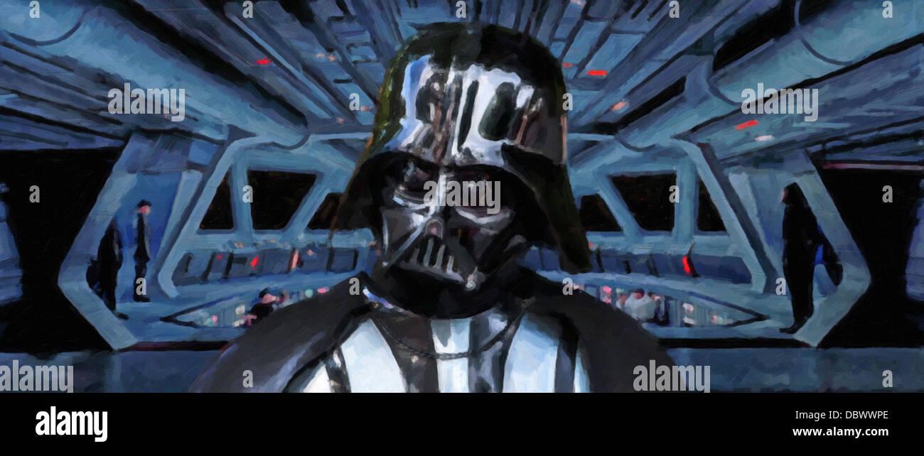 Eine digitale Malerei von Lord Darth Vader, der dunkle Lord der sith auf der Brücke seines super star Destroyer. Stockbild