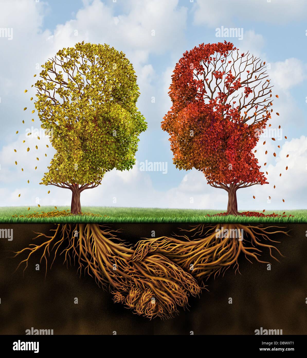 Verblassen Team Business Konzept Mit Zwei Herbst Baume Verlieren