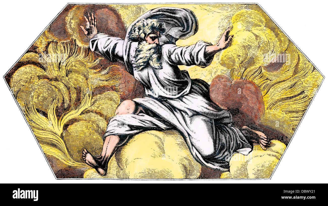 Gott die Himmel und die Erde, vom Loggie von Raphael. Hand - farbige Holzschnitt Stockbild