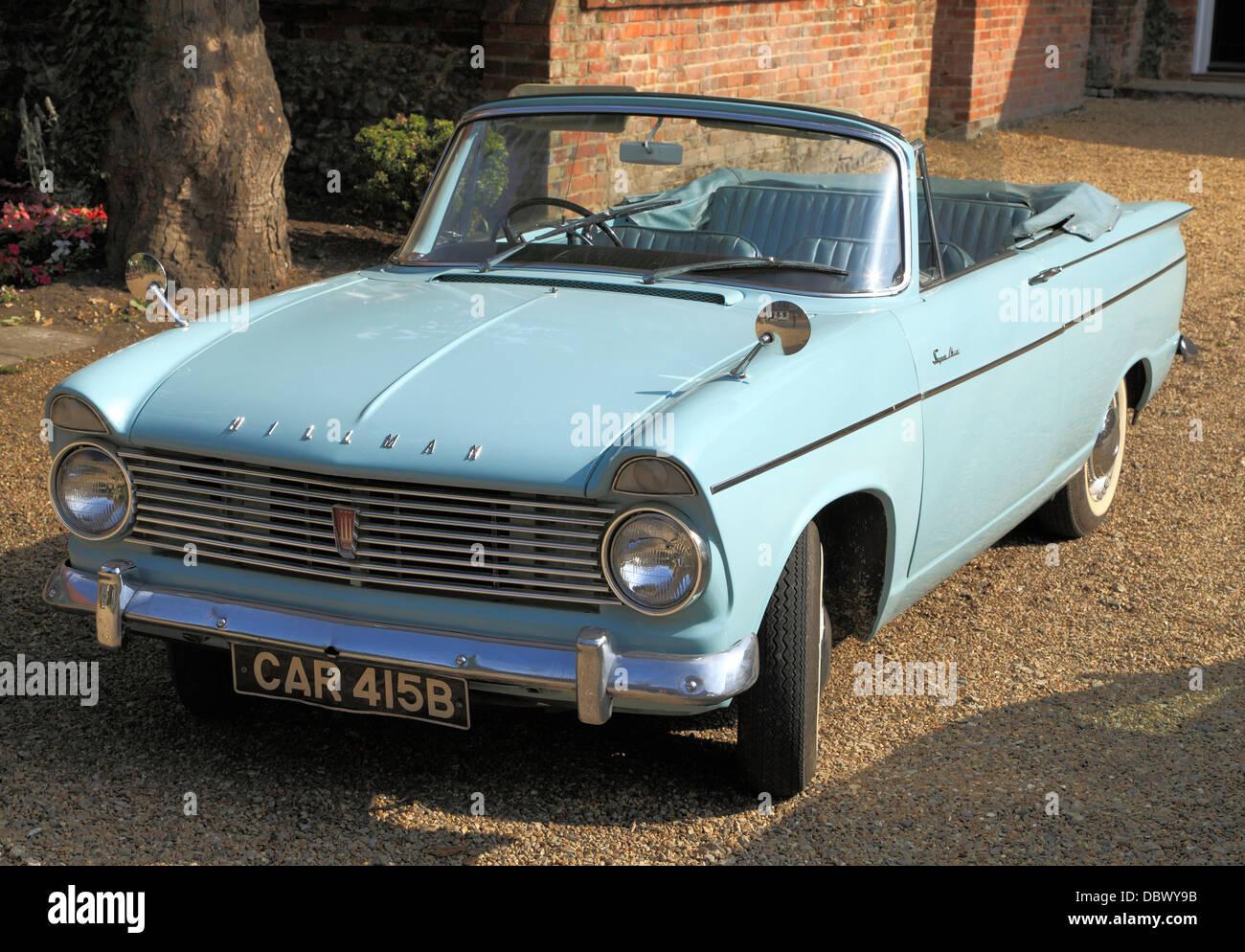 Hillman Super Minx, 1960er Jahre motor Oldtimer, britische Oldtimer Fahrzeuge Hillmans, Cabrio Cabrios, England Stockbild