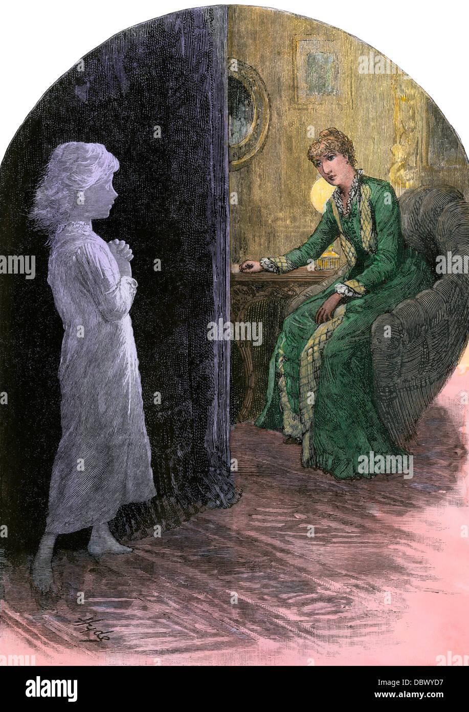Viktorianische Baumschule der Geist von einem schönen Kind heimgesucht. Hand - farbige Holzschnitt Stockbild