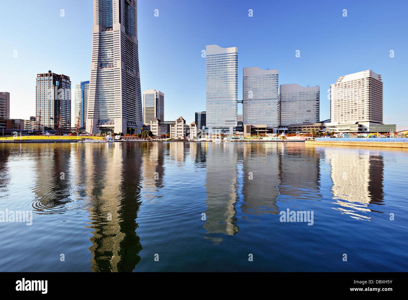 Yokohama, Japan Skyline bei Minato Mirai. Stockbild