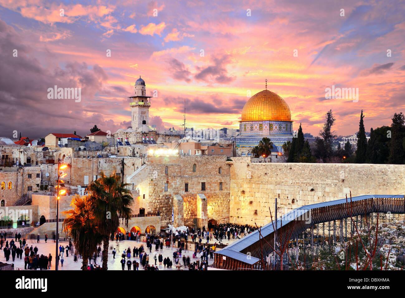 Skyline der Altstadt am er Klagemauer und Tempelberg in Jerusalem, Israel. Stockbild