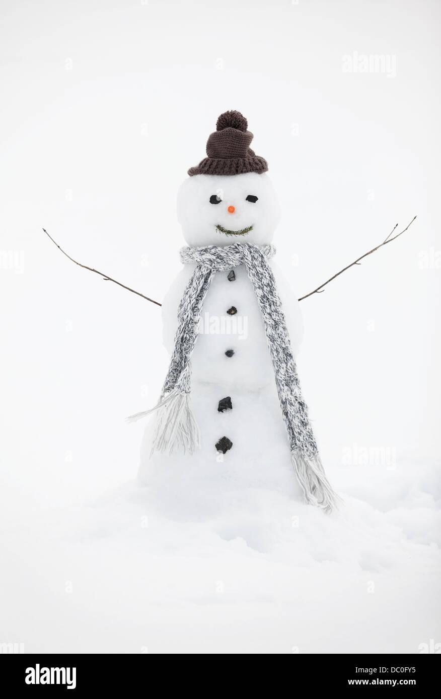 Schneemann mit Stricken Mütze und Schal Stockbild
