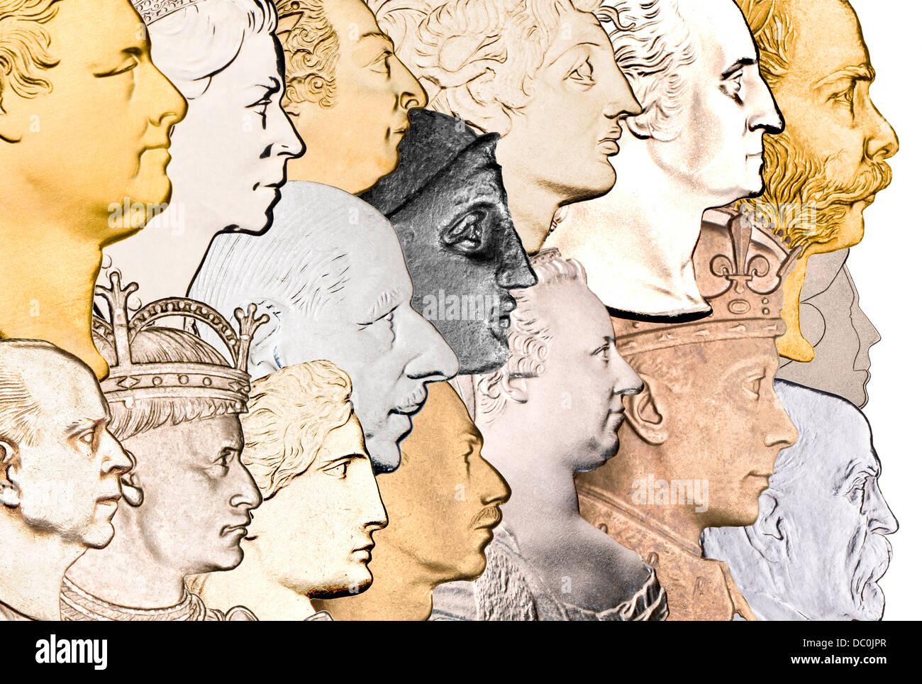 Profil-Porträts von verschiedenen Monarchen und historische Figuren, Münzen entnommen. Stockbild