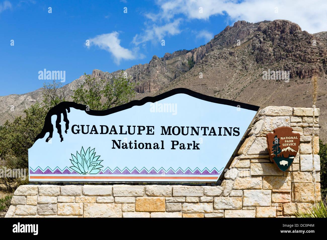 Eingang zu den Guadalupe Mountains Nationalpark, Texas, USA Stockbild