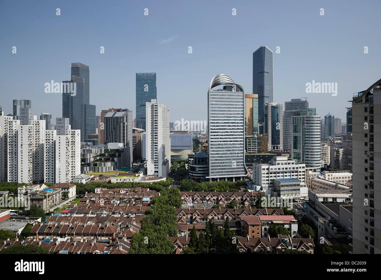 Erhöhte Ansicht der Stadt Shanghai, China Stockbild