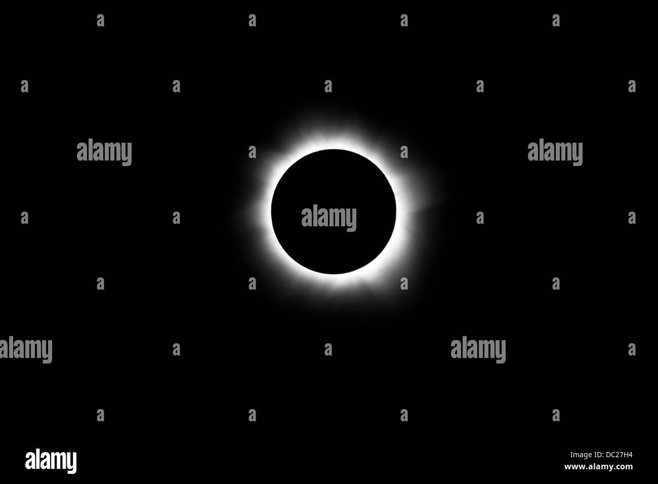 Totale Sonnenfinsternis am 13 Nobember 2012, Pazifik, Neu Kaledonien Stockbild