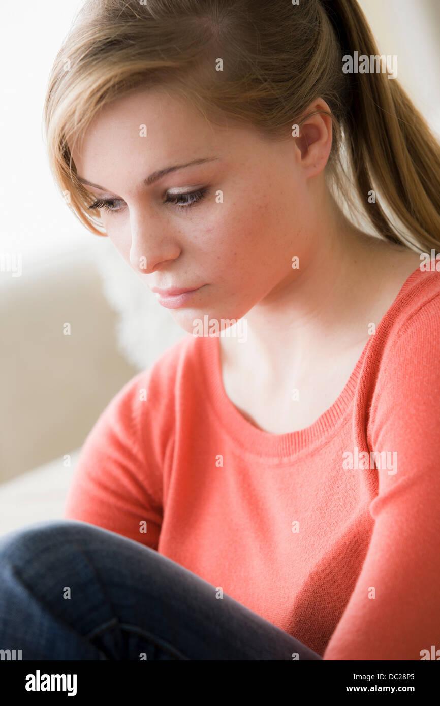Traurige Teenager-Mädchen Stockbild