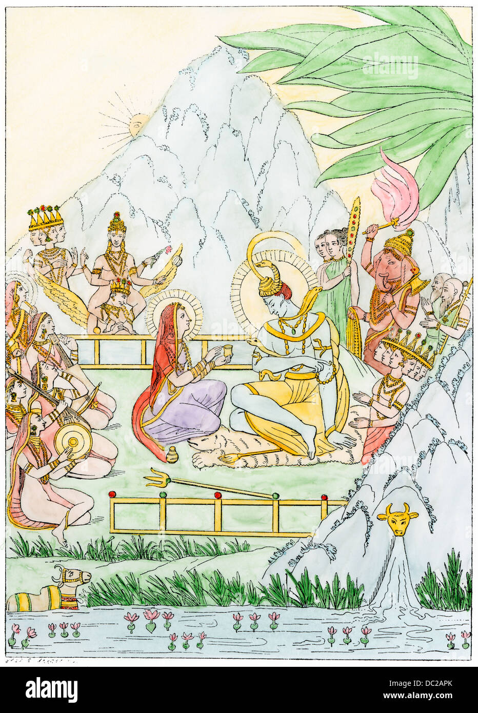 Hommage an Siva, Gott der Regeneration in den hinduistischen heiligen Triade. Hand - farbige Holzschnitt Stockbild