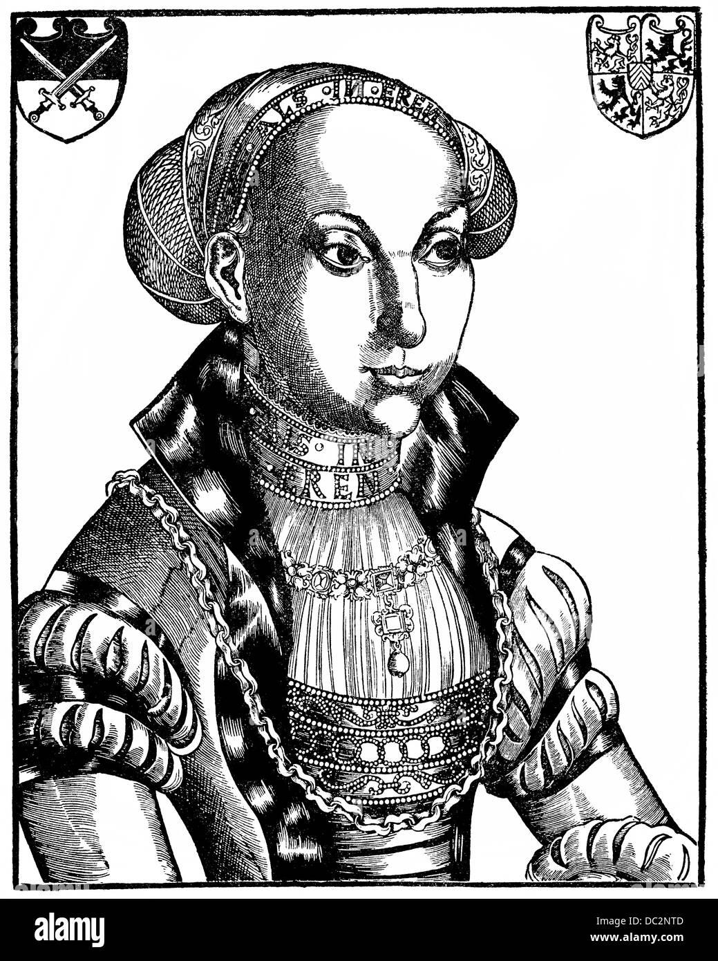 Porträt von Sibylle von Jülich-Kleve-Berg, Sybille von Kleve, 1512-1554, Kurfürst von Sachsen Stockbild