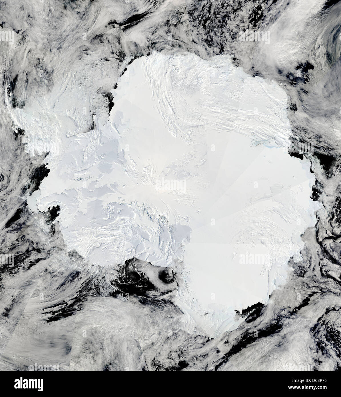 Satellitenbild von der Antarktis Stockbild