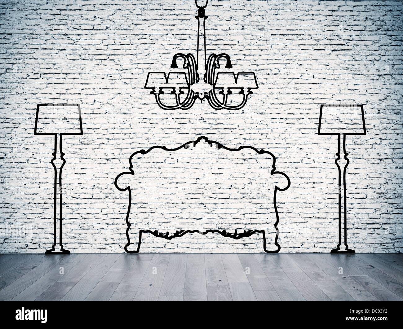 Schwarze Silhouetten Der Möbel Linie Vor Der Weißen Wand Stockfoto