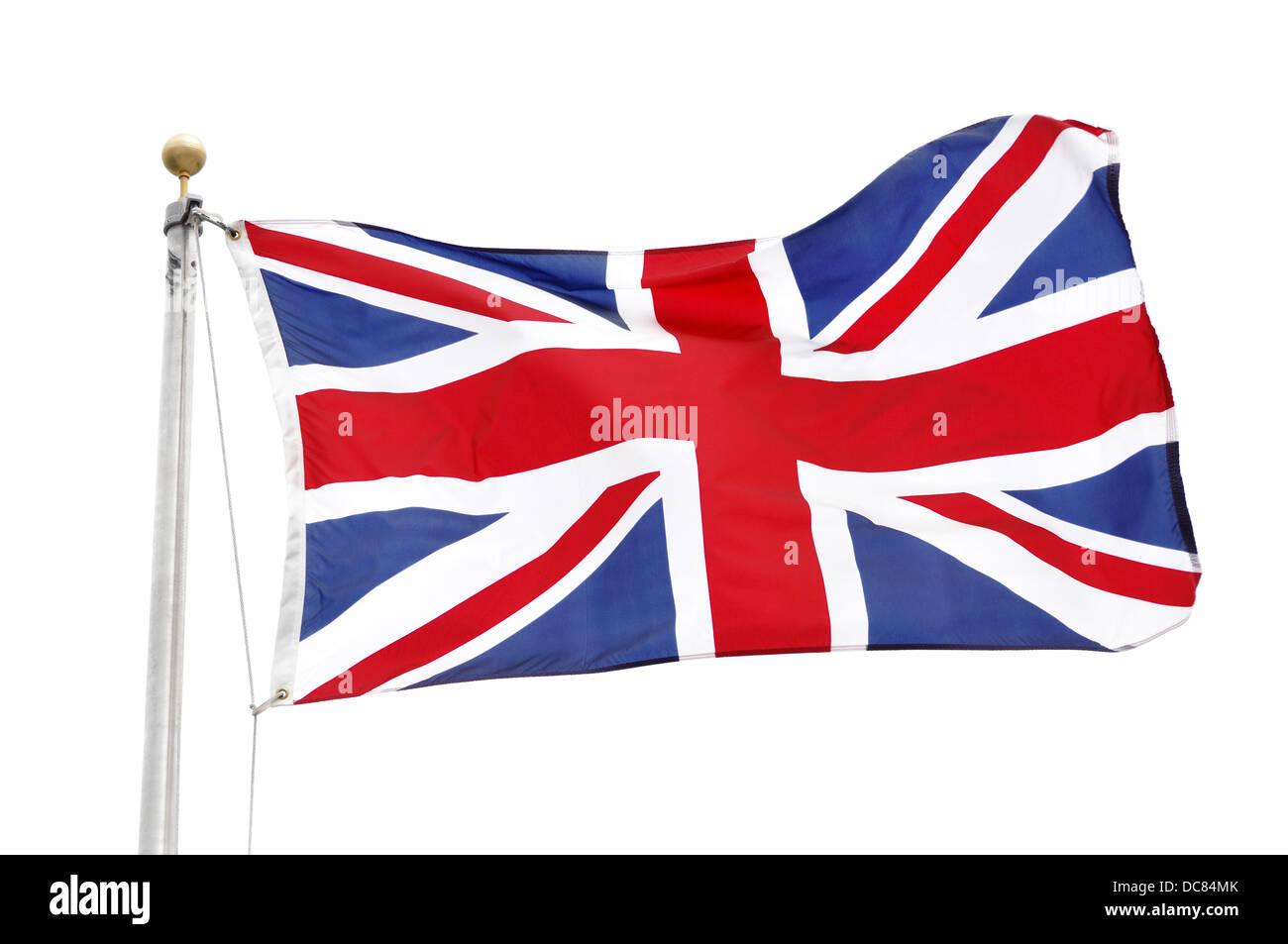 Union Jack Flagge des Vereinigten Königreichs isoliert auf weißem Hintergrund Stockbild
