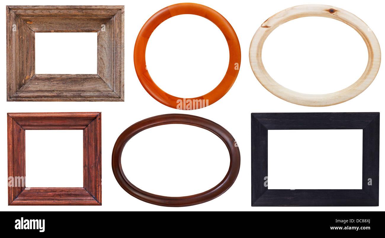 Satz von Holz Bilderrahmen mit Ausschnitt Leinwand isoliert auf ...