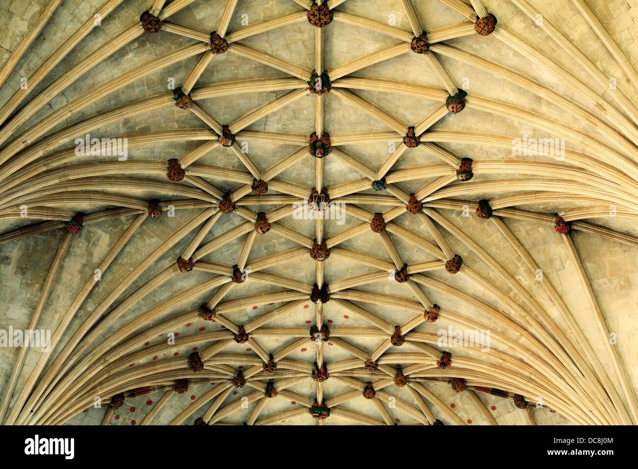 Ely Cathedral, Marienkapelle, Lierne Tresor Decke Dach 14. Jahrhundert englische mittelalterliche Architektur Cambridgeshire Stockbild
